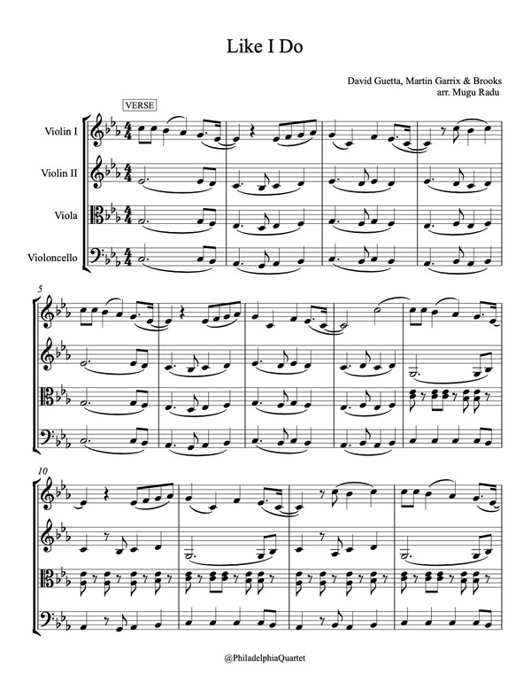 Like I Do by David Guetta - String Quartet Sheet Music