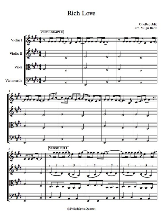 Rich Love by OneRepublic - String Quartet Sheet Music