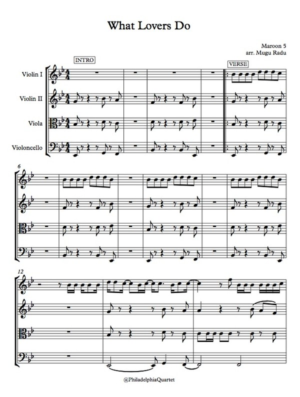 What Lovers Do by Maroon 5 - String Quartet Sheet Music