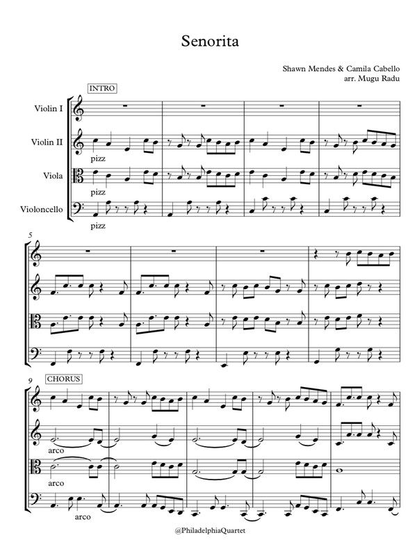 Senorita by Camila Cabello & Shawn Mendes - String Quartet Sheet Music