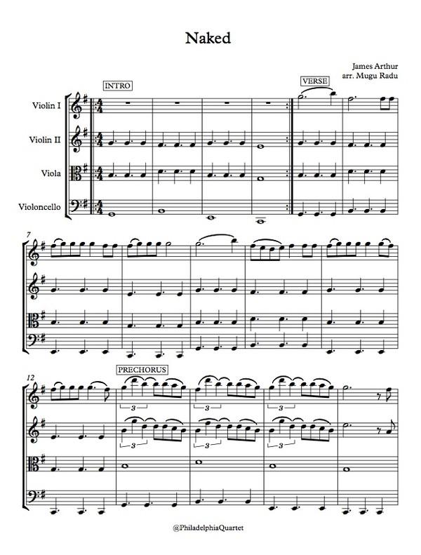 Naked by James Arthur - String Quartet Sheet Music