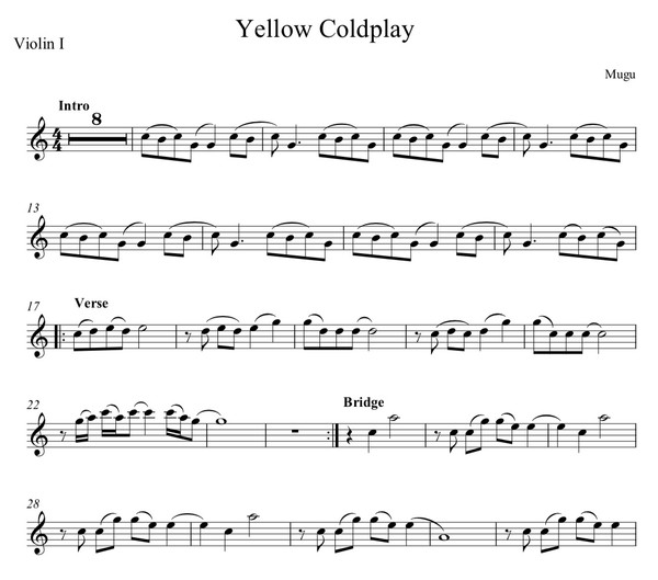 Yellow by Coldplay - String Quartet Sheet Music