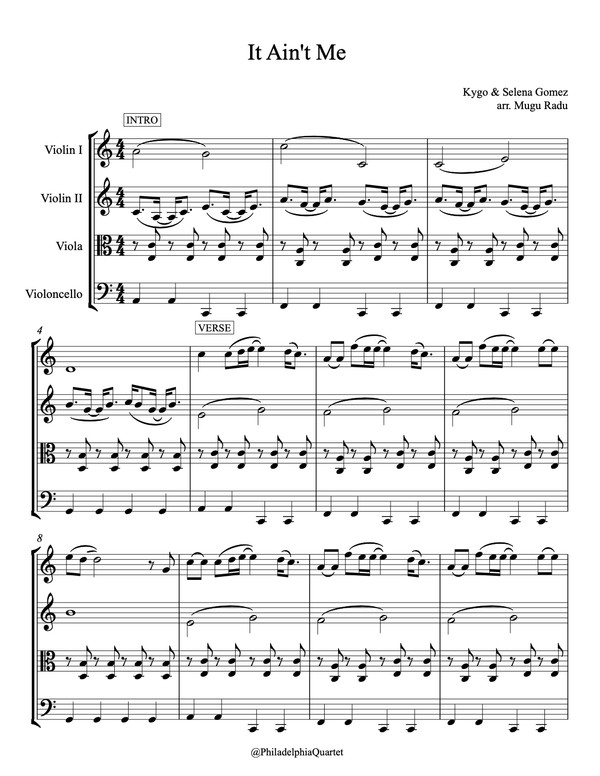 It Ain't me by Kygo & Selena Gomez - String Quartet Sheet Music