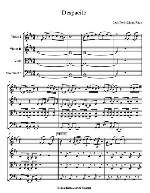 Despacito by Luis Fonsi - String Quartet Sheet Music