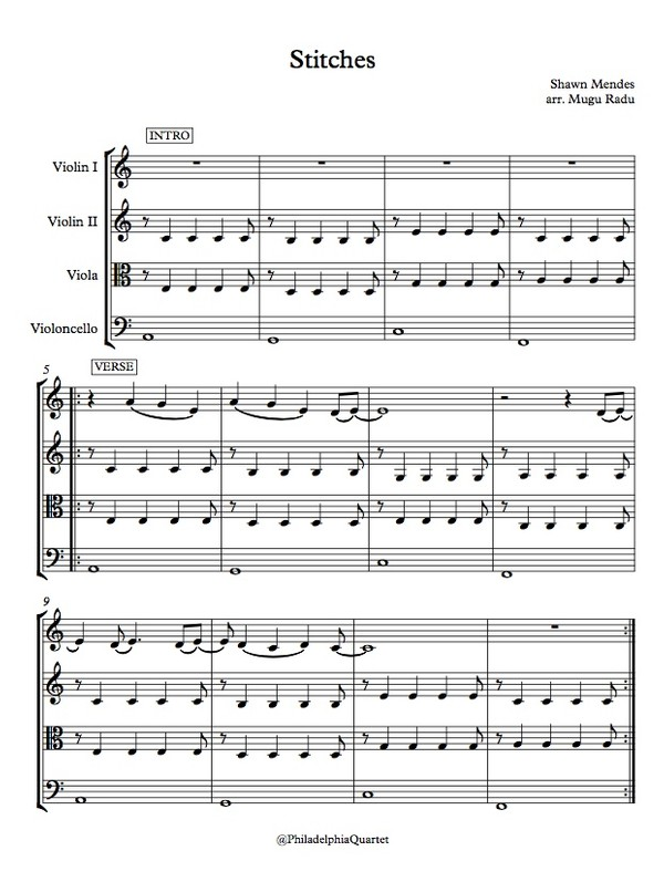 Stitches by Shawn Mendes  - String Quartet Sheet Music