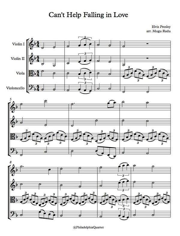 Can't Help Falling in Love by Elvis Presley  - String Quartet Sheet Music
