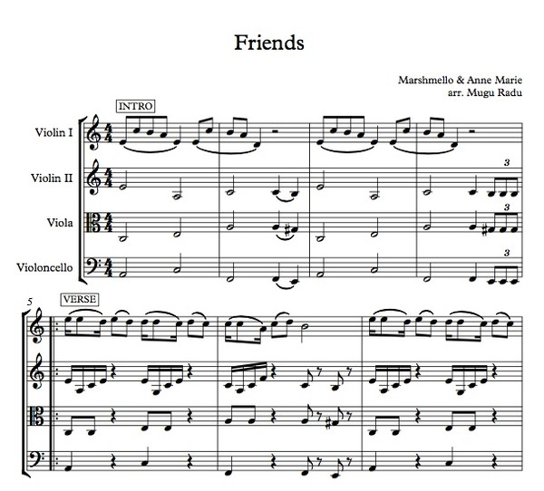 Friends by Marshmello & Anne-Marie - String Quartet Sheet Music