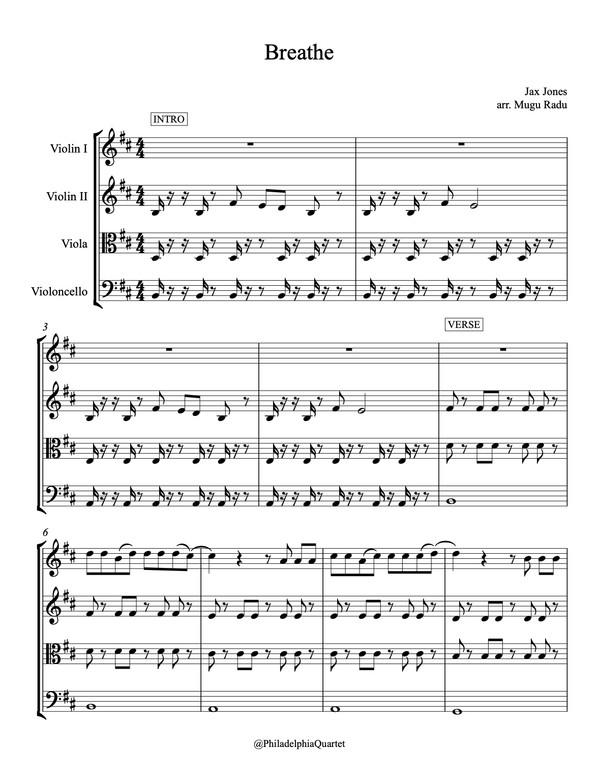 Breathe by Jax Jones ft. Ina Wroldsen - String Quartet Sheet Music
