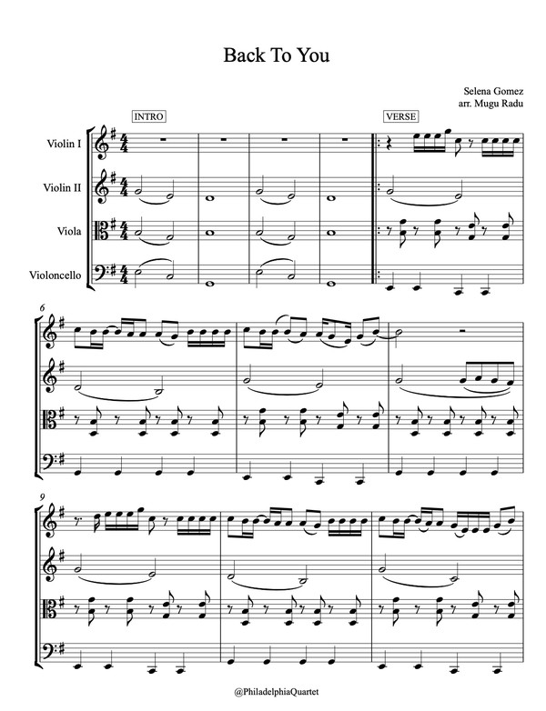 Back To You by Selena Gomez - String Quartet Sheet Music