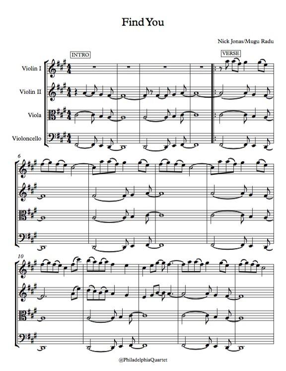 Find You by Nick Jonas  - String Quartet Sheet Music