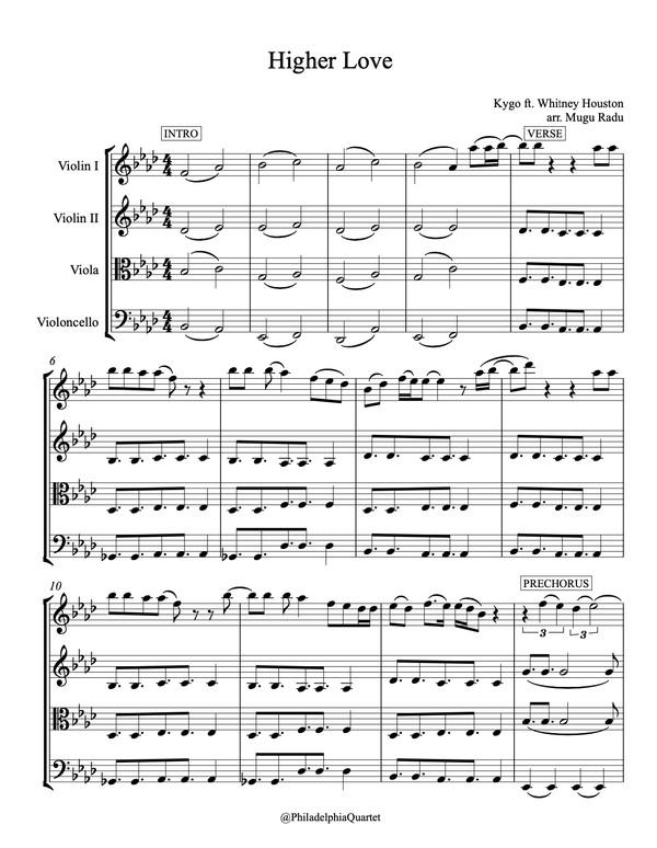 Higher Love by Kygo ft. Whitney Houston - String Quartet Sheet Music
