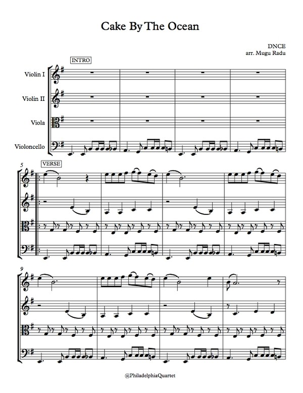 Cake by the Ocean by DNCE - String Quartet Sheet Music