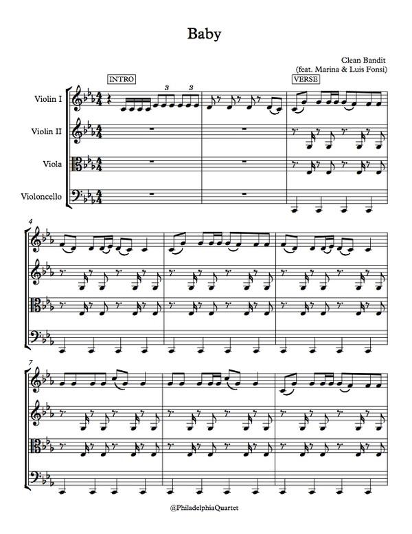 Baby by Clean Bandit feat. Marina & Luis Fonsi - String Quartet Sheet Music
