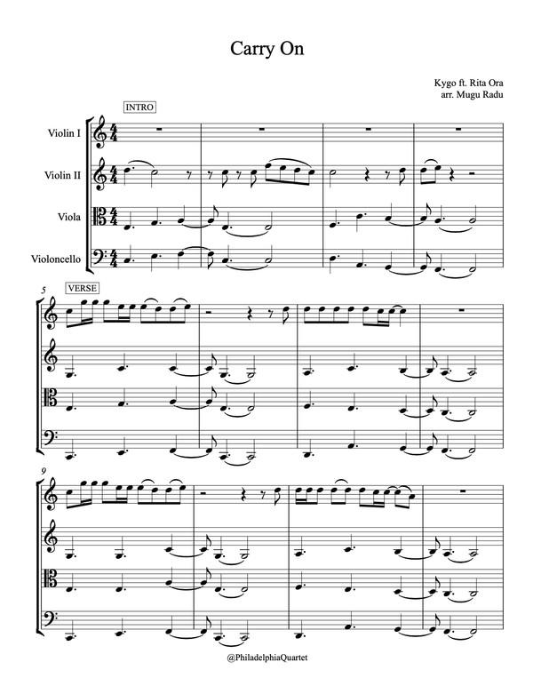 Carry On by Kygo ft. Rita Ora - String Quartet Sheet Music