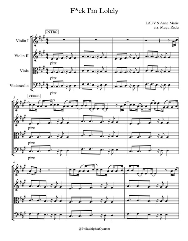 f**k, I'm Lonely BY LAUV FEAT. ANNE-MARIE - String Quartet Sheet Music