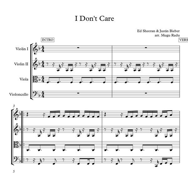 I Don't Care Ed Sheeran & Justin Bieber - String Quartet Sheet Music