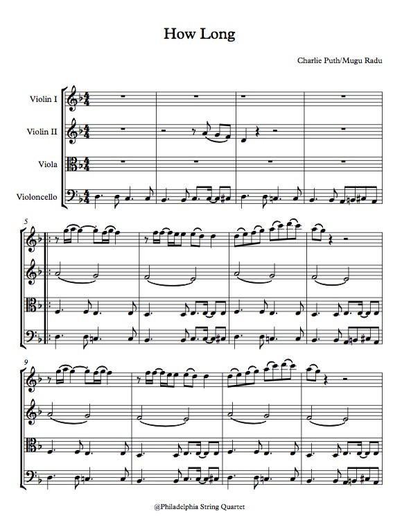 How Long by Charlie Puth  - String Quartet Sheet Music