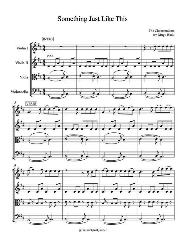Something Just Like This by The Chainsmokers - String Quartet Sheet Music