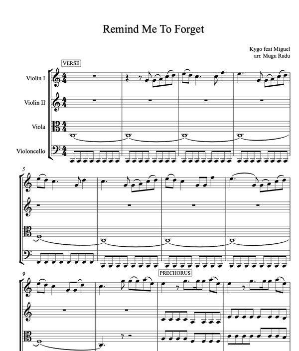 Remind Me To Forget by Kygo feat. Miguel - String Quartet Sheet Music