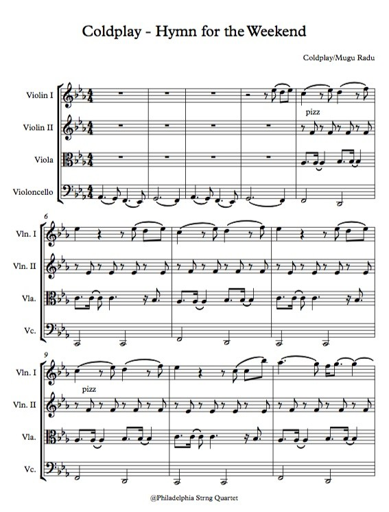 Hymn for the Weekend by Coldplay  - String Quartet Sheet Music
