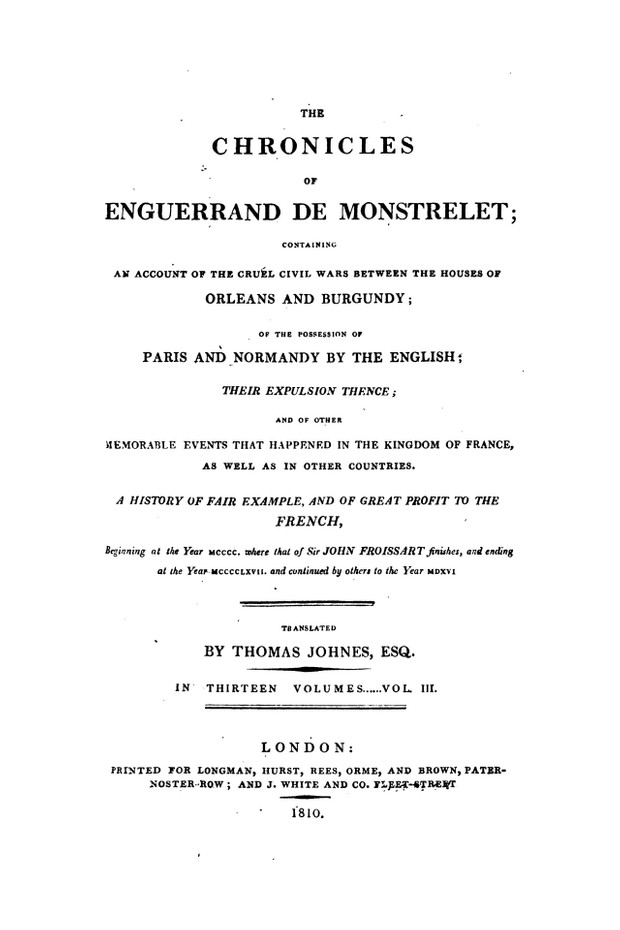 Enguerrand de Monstrelet chronicle vol.3