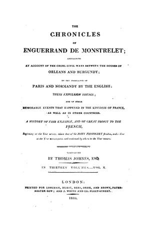 Enguerrand de Monstrelet chronicle vol.10