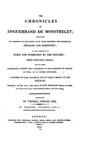 Enguerrand de Monstrelet chronicle 13 volumes