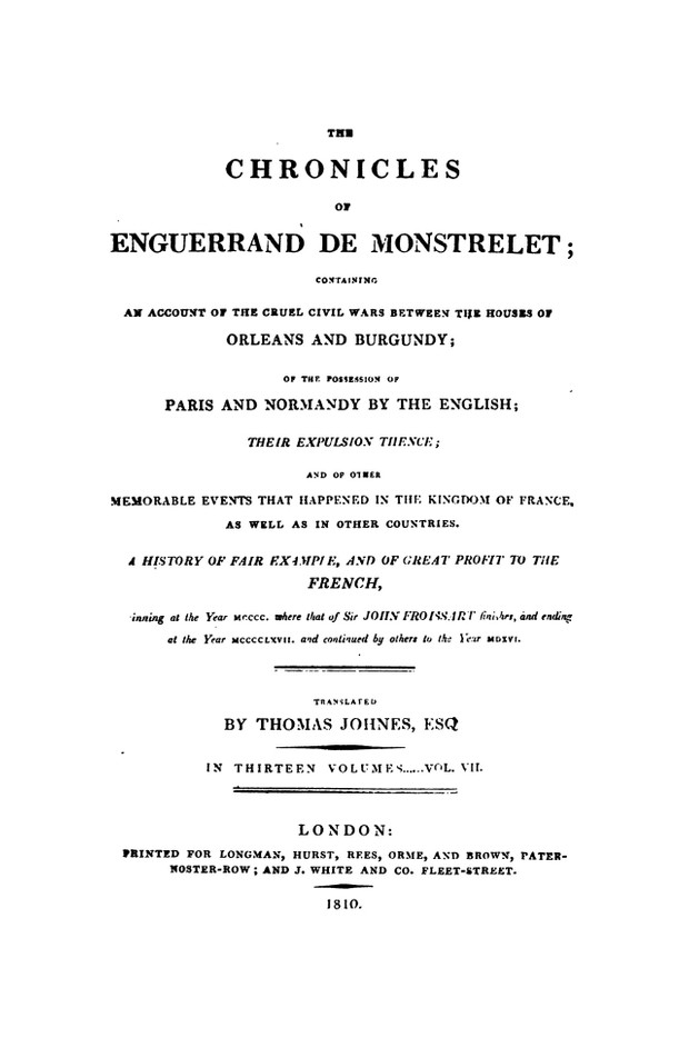 Enguerrand de Monstrelet chronicle vol.7