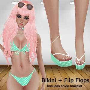 RLL Teal Bikini with Flip Flops (With Resell)