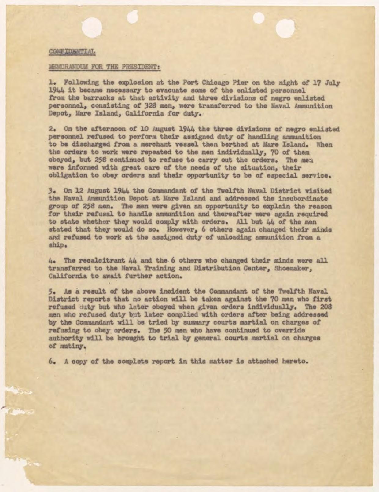 World War II Port Chicago Disaster/Port Chicago Mutiny -  PaperlessArchives.com