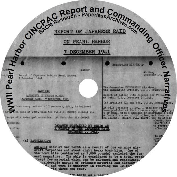 World War II:  Pearl Harbor  Commander-in-Chief, U.S. Pacific Command (CINCPAC) Documents - Download