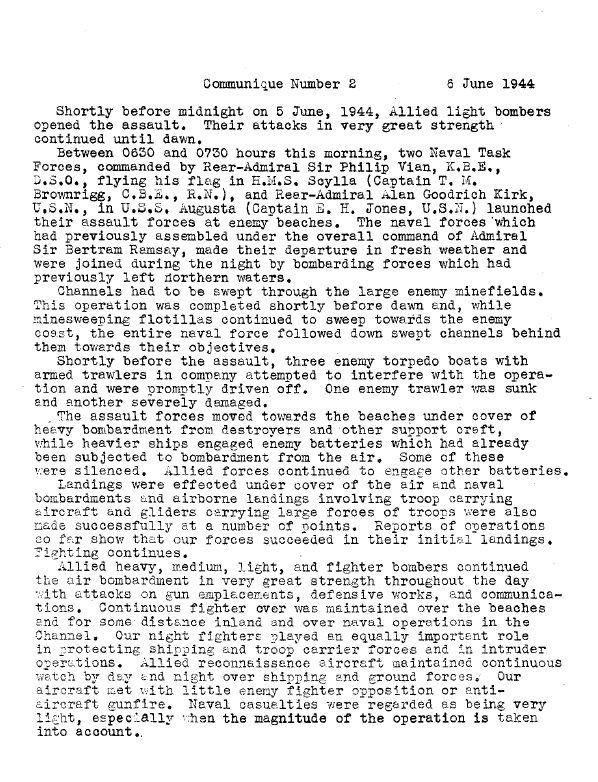 World War II: Supreme Headquarters Allied Expeditionary Force Communiqués