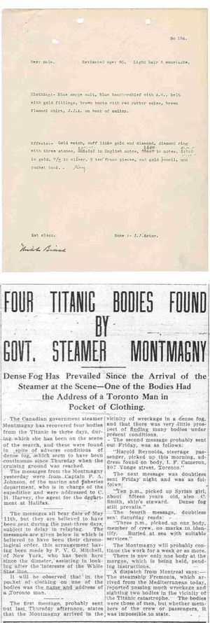 Titanic Disaster Victim Recovery Documents & Medical Examiner Reports - Download