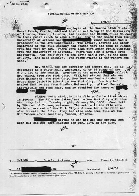 Andy Warhol FBI Files