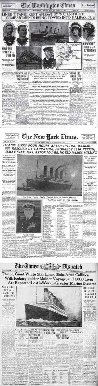 Titanic Disaster Newspapers April 1 - April 19, 1912