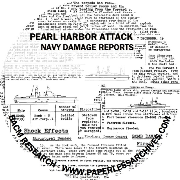 World War II: Pearl Harbor Attack Damage Reports & Photos