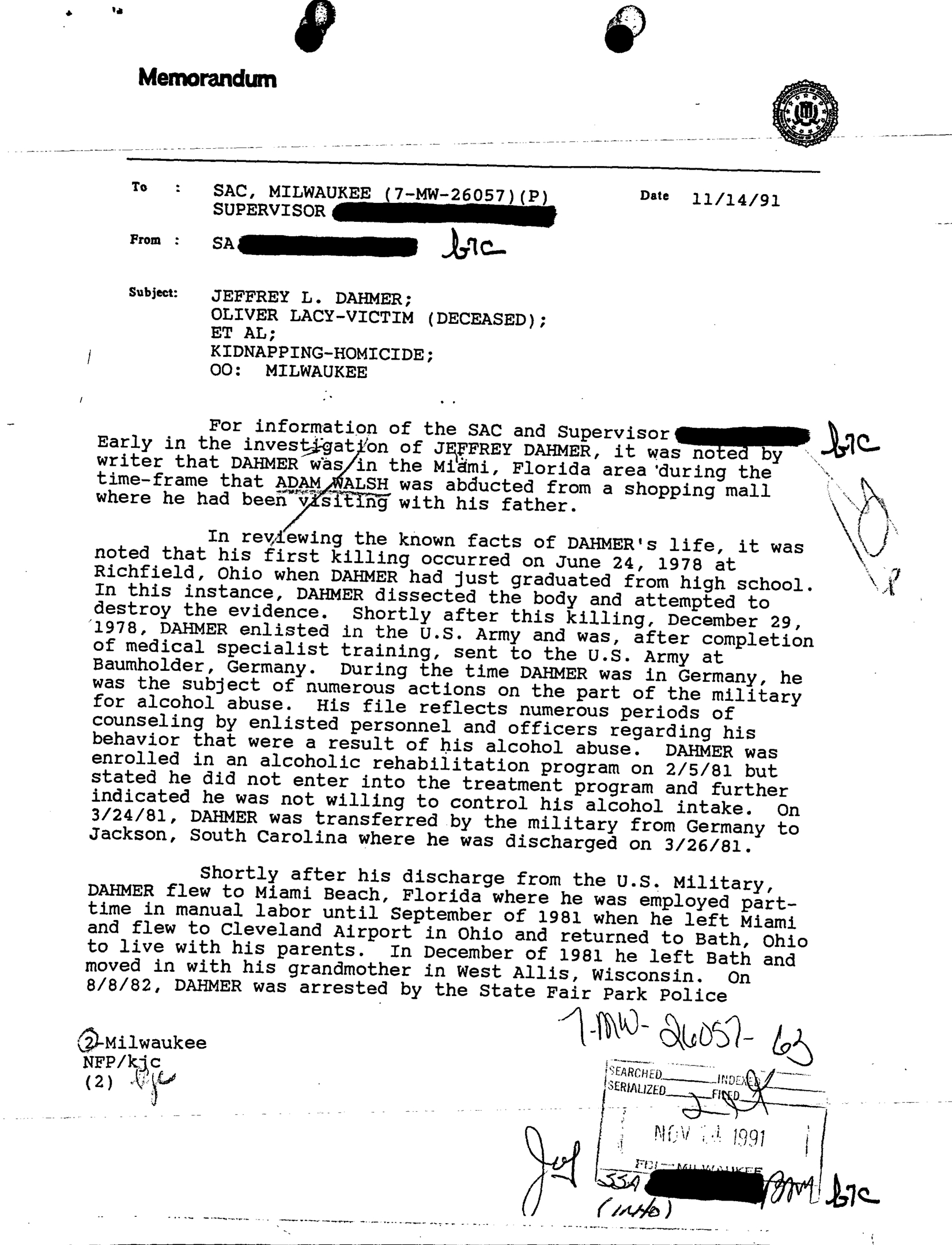 Jeffrey Dahmer Milwaukee Police Fbi Military Files