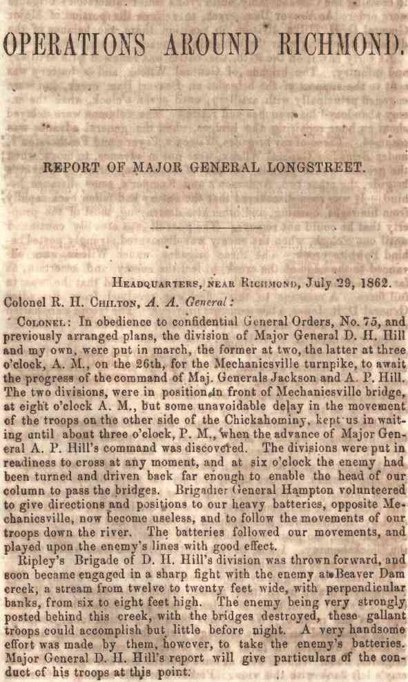 Civil War Confederate Army of Northern Virginia Operations Reports