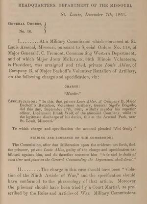 Civil War: U.S. Army Civil War and Reconstruction Era Court Martial Records