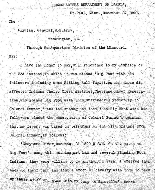 Wounded Knee Massacre, Battle of Wounded Knee, Sioux Campaign of 1890-91 U.S. Army Reports