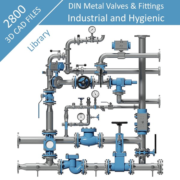 2800 Parts - Step files 3D CAD Library - DIN & ASME-BPE Fittings & Valves