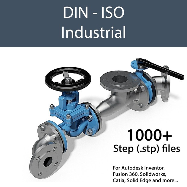 1000 Parts - Step Files 3D CAD Library - DIN - Industrial - Fittings &  Valves