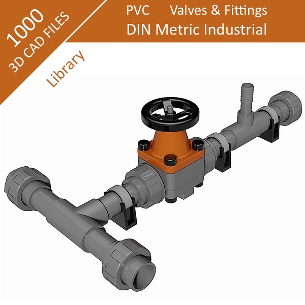 1000 Parts - Step Files 3D CAD Library - DIN - PVC Metric -Industrial - Fittings & Valves