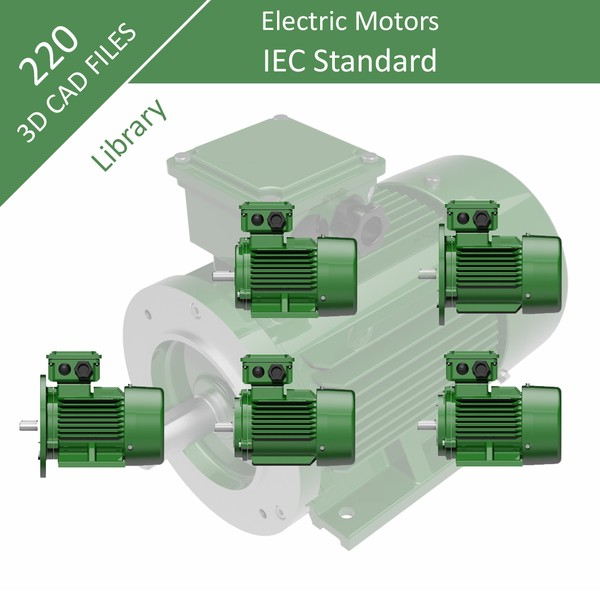 220 Parts - Step files 3D CAD Library - Three Phase IEC Electric Motors