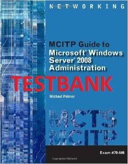 ITM315 TESTBANK - MCITP Guide to Microsoft Windows Server 2008, Server Administration (Exam# 70-646)