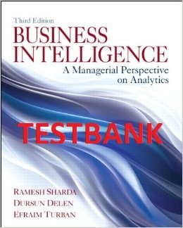 ITM618 TESTBANK -  Business Intelligence: A Managerial Perspective on Analytics, 3rd Edition
