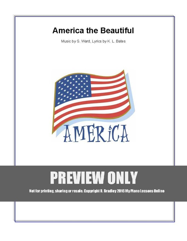America the Beautiful Level 1A piano