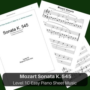 Mozart Sonata piano sheet music K. 545 easy piano