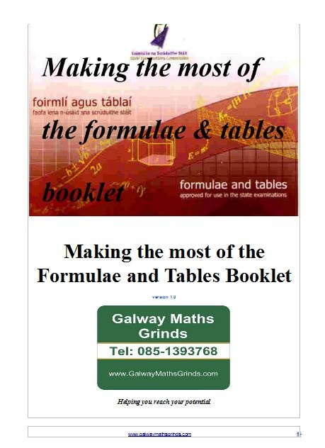 Making the most of the Formulae and Tables Booklet
