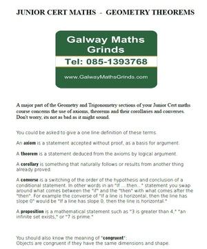 Junior Cert Maths - Geometry Theorems